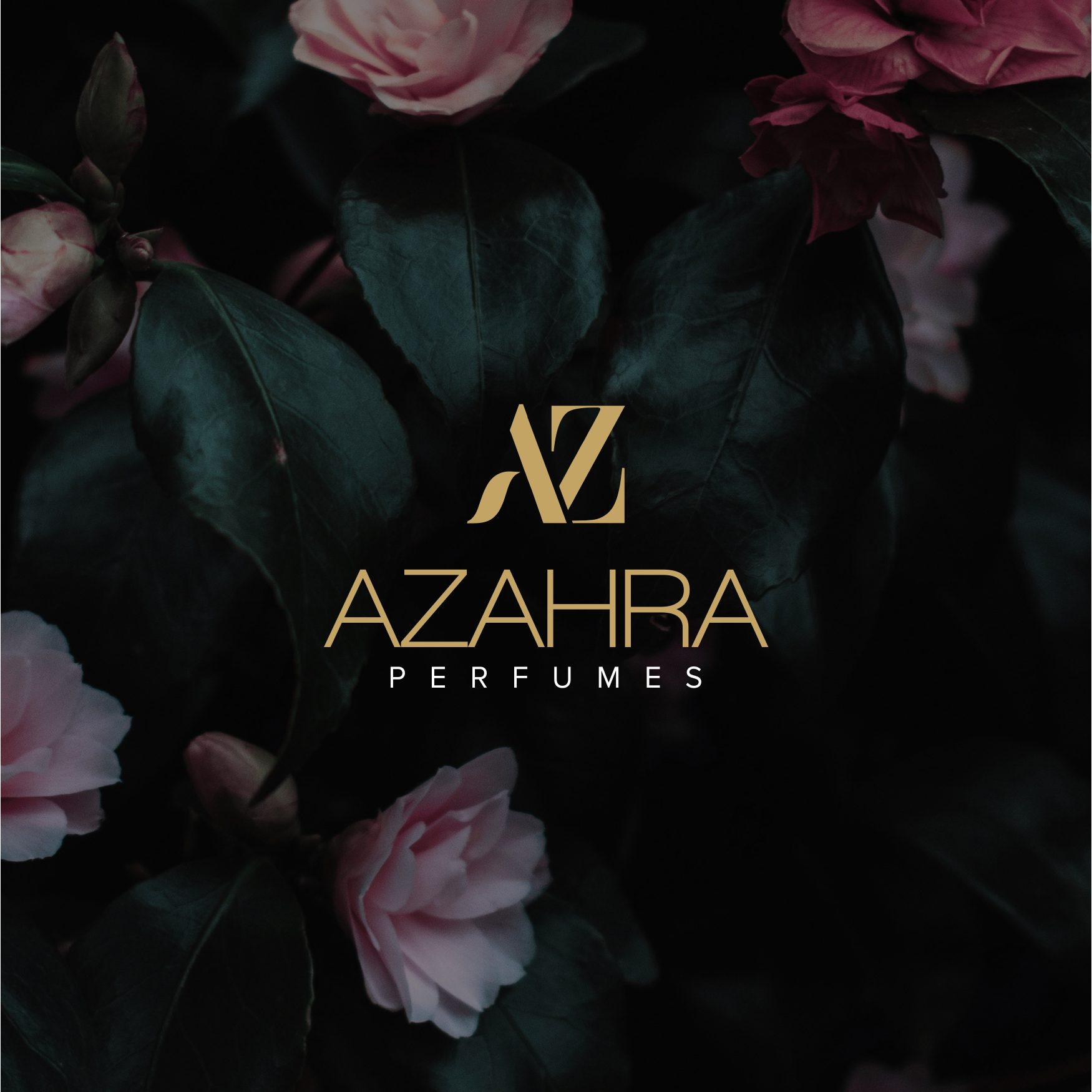 Azahra Perfume Floral Background Logo